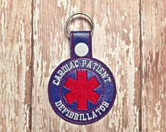 Alert - Cardiac Patient - Defibrillator - Medical -  Key Fob - Embroidery Design -   DIGITAL Embroidery DESIGN