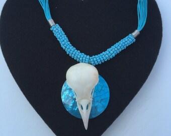 A unique Crow skull necklace