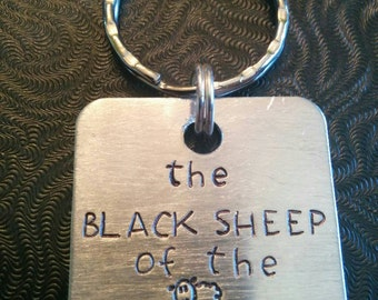 Black Sheep of the Family Hand Stamped Keychain