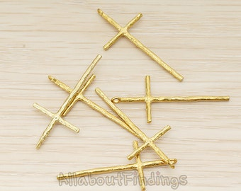 PDT899-RB // Raw brass Textured Long Cross Pendant, 2 Pc