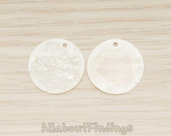 PDT1497 // White Colored Flat Thin 20mm Mother of Pearl MOP Round  Circle Pendant, 4 Pc