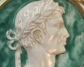 Vintage Italian Wellington Hall Ceramic Wall Plaque or Catch All Dish with Male Roman Cameo - Free Shipping