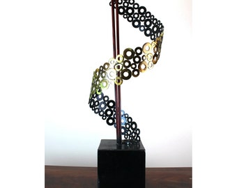 Holly Lentz Modern Washer Sculpture Signed and Dated Artwork Statue