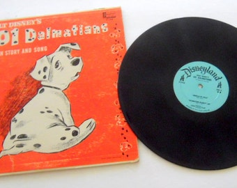 33 RPM record by Disneyland Records. Walt Disney's 101 Dalmatians in story & song, childrens records, kids music