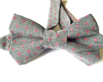 Gray bow tie, polkadot bow tie, red polkadot tie, red polkadot bow tie, red tie, red necktie, red neckwear, gray tie, gray neckwear,