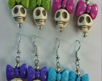 Skull Earrings With Bow, Free Shipping