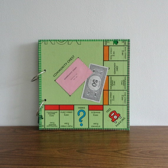 Scrapbook From Upcycled London Monopoly Board