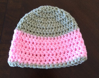 Crochet 6-12 Month Pink and Sage Green Beanie Hat