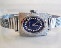 Lucerne Swiss Mechanical RUNNING Women's Dress Watch...Lucerne Swiss Wind Up Silver Mesh Blue Rhinestone Women's Watch..MINT!