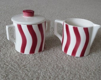 Vintage Porcelain White With Red Stripes Cream And Sugar Bowl With Lid Set