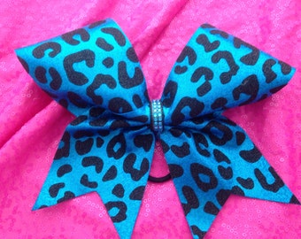 Big cheer bow- turquoise cheetah sparkle