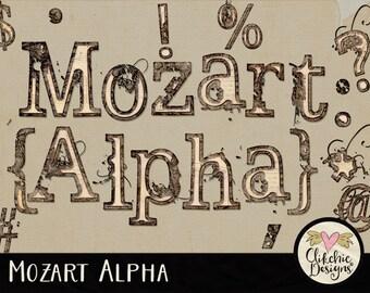 Grunge Alpha - Digital Scrapbook Alpha ClipArt - Grunge Paper Alphabet, Digital Alpha, Digital Alphabet, Digital Letters, Scrapbook Alphabet
