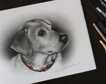 Custom Pet Drawing - Dog Portrait - Pet Portrait -Portrait Drawing - Labrador