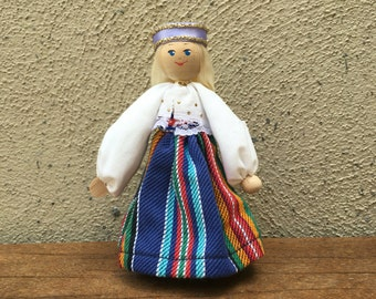Handpainted wooden Waldorf doll