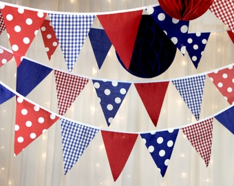 Spotty nautical beach hut bunting banners in vibrant blue, white, red & gingham flags perfect finishing touch for weddings, parties, BBQs
