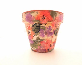 Hand Painted Clay Pot, Distressed Flower Pot, Painted Plant Pot, Painted Terra Cotta Pot, Distressed Painted Plant Pot - IMPRESSIONS