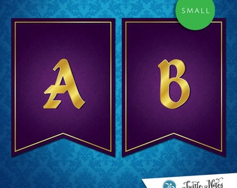 Small Sleeping Beauty Purple Banner :  Printable Banner All Letters 0-9 numbers