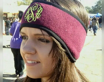 Headband/Monogrammed Fleece Headband/Ear Warmers/Embroidered Monogram/Winter Headband/Birthday Gift/Fitness Runners Headband