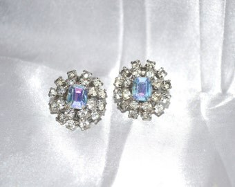Vintage Clear & Aurora Borealis Rhinestone Earrings