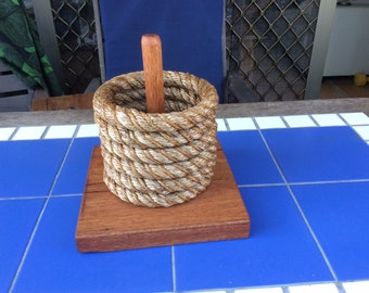 ROPE QUOIT GAME traditional backyard game coloured red jarrah oil