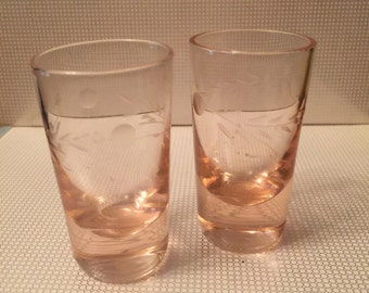 2pc NAPCO Replica Etched Peach Pink Weighted Whiskey Shot Glass VINTAGE