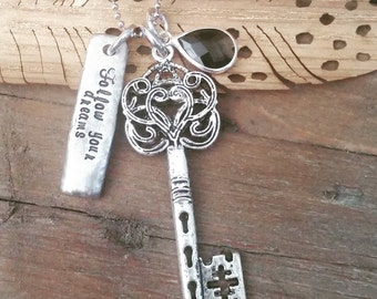Hand Stamped Jewelry-Personalized necklace-Hand Stamped Pewter Necklace-Pewter Tag-Follow Your Dreams-Vintage Key-Graduation-Sweet 16