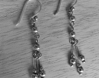 Sterling silver ball and stick earrings