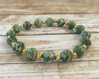 Tree Agate Stackable Beaded Bracelet with Gold Spacer Beads - Green & White Agate Bracelet - Gift for Her