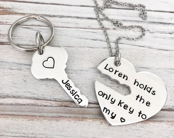 Key To My Heart - Interlocking - Matching - Custom Necklace - Husband - Wife - Anniversary - Gift Set