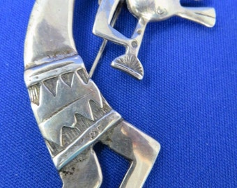 Kokopelli Brooch Sterling Silver 925 Flute Player American Southwest Hopi Vtg