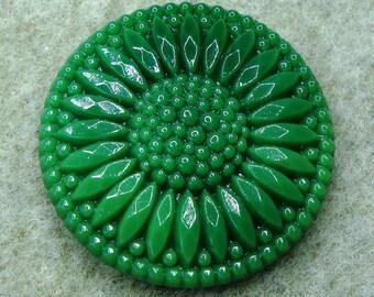 Czech Glass Button 32mm - handpressed - dark green (B32220)