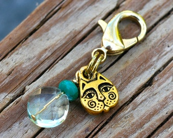 Faceted Blue Quartz and Turquoise Cat Collar Charm, Healing Gemstone Cat Collar Jewelry