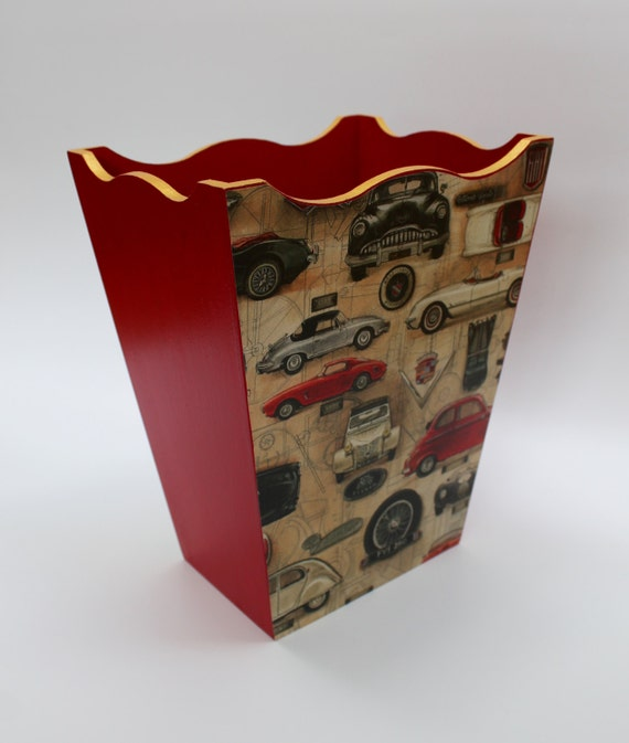 Waste Paper Basket With Classic Car Design And Gold Rim In
