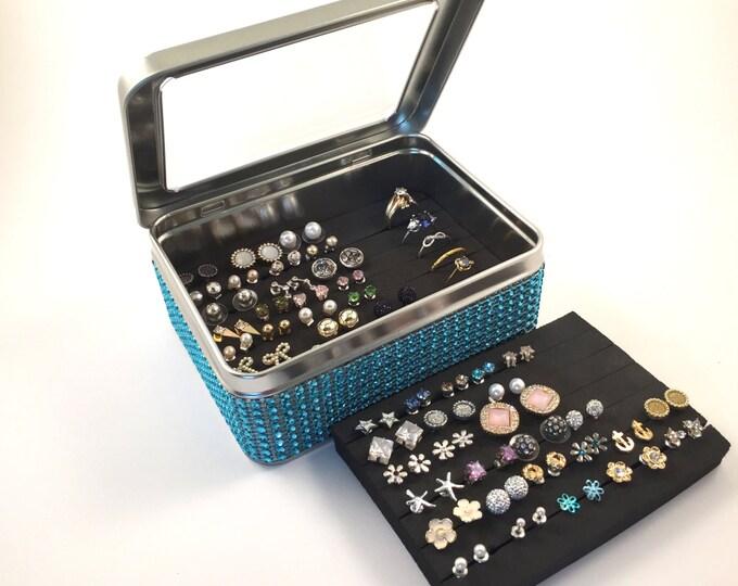 Tin Jewelry Box - Turquoise Blue  - Jeweled Ribbon - Extra Insert - Travel Earring Organizer