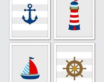 Nautical Art, Nautical Decor, Nautical Nursery Art, Nautical Nursery Decor, Nautical Prints, Room Kids Bath Art Sailboat Anchor Nursery Art