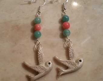 Beaded Dove Dangles