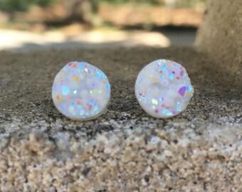 Earrings Opal Druzy Stud Earrings Boho Jewelry Opal White Earrings 10MM