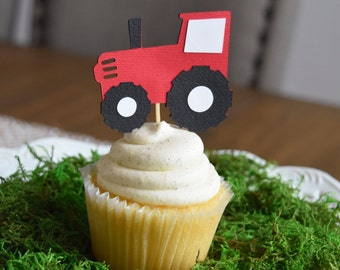 12 Tractor cupcake toppers, Farm/Farm Theme Party