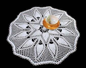 White Crochet Doily, 22 inches, Round, Tablecloth, Fine Art Crochet, Pinecone