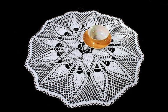 White Crochet Doily, 22 inches, Round, Tablecloth, Fine Art Crochet, Pinecone