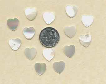 12 Vintage Mother of Pearl carved hearts