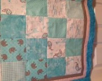 """Unfinished, Baby Quilt Top, Shades of Aqua &White, 37"""" x 37"""", Ready to Quilt"""
