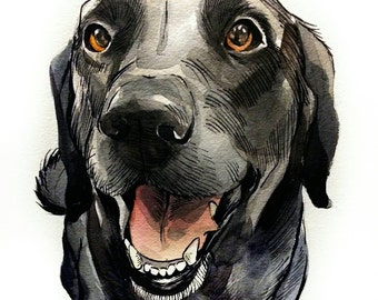Personal/ Custom Dog Portrait Illustrations- Dog Watercolor Portrait From Photo Made To Order