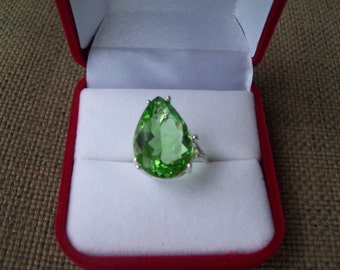 Sweet Spring Green Emerald Pear Ring Sterling Silver - Huge 18x13 mm