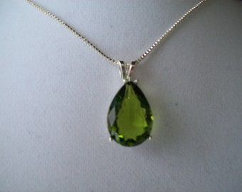 Created Peridot Pear Pendant in Sterling Silver, Comes with chain