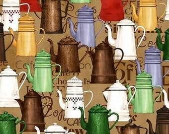 Colorful Antique Coffee Pots, Lt Brown, Daily Grind, Quilting Treas (By 1/2 yd)