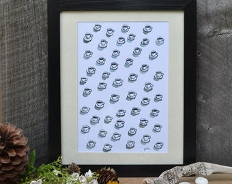 coffee adict pattern print