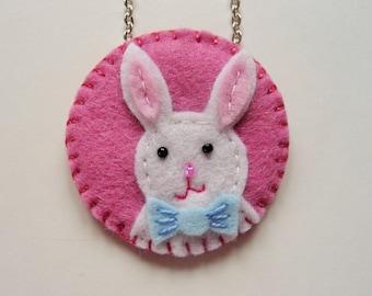 Felt Bunny Pendant, Felt Rabbit Pendant, Easter Bunny Necklace, Easter Bunny Pendant, Easter Jewelry, Easter Basket Gift, Spring Jewelry