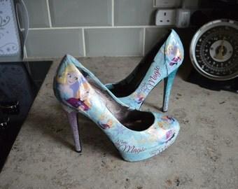 Bridal Disney Frozen Glitter Ombré Heels and Matching Flower Girl Shoes!
