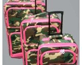 Three piece Luggage Set.  Camo Print with Pink Trim